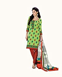 DARPAN TEXTILES Ethnicwear Women's Dress Material(DTCHITRA5083_Green_Free Size)