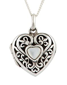 Ornami Sterling Silver Filigree Heart Locket with Mother-of-Pearl Central Heart 46 cm Chain