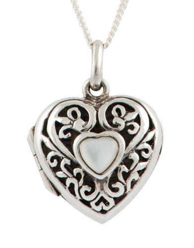Sterling Silver Filigree Heart Locket with Mother-of-Pearl Central Heart 46 cm Chain