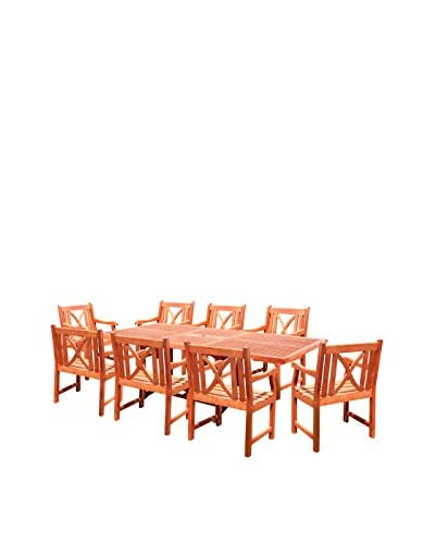 Vifah 9-Piece Rectangular Extension Table and Arm Chair Outdoor Dining Set, Tan