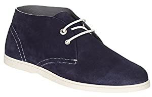 Salvatore Ferragamo Men's Dark Blue Suede Rico Chukka Ankle Lace Up Boots Shoes, Blue, 9