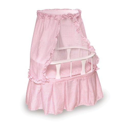 Badger Basket Oval Doll Bassinet With Canopy And Pink Gingham Bedding - Pink/White