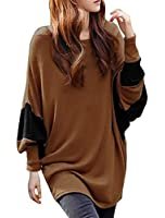 Allegra K Lady Batwing Long Sleeved Color Block Scoop Neck Leisure Tunic Shirt