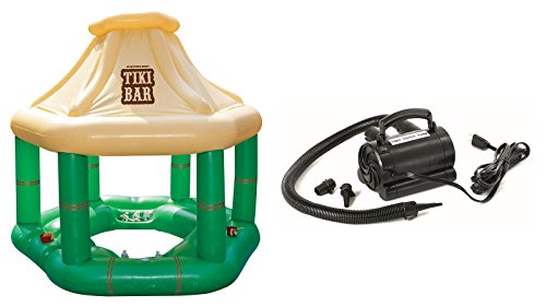 """Swimline 90245 Green Vinyl Pool Inflatable 90""""x90"""" Floating Tiki Bar with 110-Volt Electric Air Pump"""