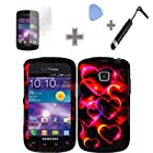 (4 Items Combo : Case - Screen Protector Film - Case Opener - Stylus Pen) Rubberized Black Pink Colorful Hearts Snap on Design Case Hard Case Skin Cover Faceplate for Samsung Illusion / Galaxy Proclaim i110 / S720 (Verizon/Straight Talk)
