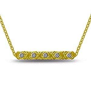 14K Yellow Gold Plated .02CTW Diamond Byzantine Link Bar Pendant Necklace