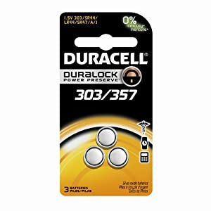 Duracell 303/357 1.5v Watch/Electronic Batteries 3 Count (Pack of 3)