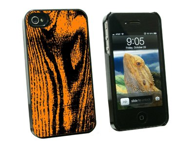 Wood Grain Orange - Snap On Hard Protective Case for Apple iPhone 4 4S - Black