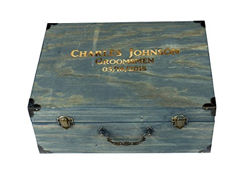 Groomsmen Gift Set in a Wooden Gift Box - Lighter - Flask - Wallet - Knife All Included - Free Engraving