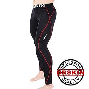 [DRSKIN] DB04 Compression Tight Pants Compression couche de base de course Pantalons Hommes Femmes Collant (L)