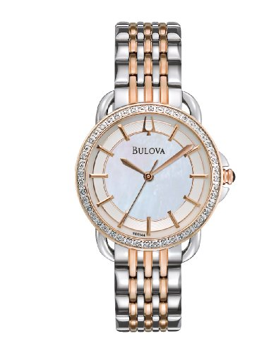 Bulova Women's 98R144 Diamond Rose and Stainless Steel Two Tone Watch