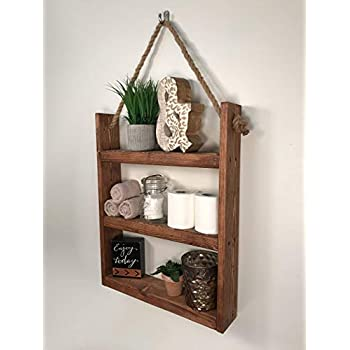 Rustic Ladder Shelf- Rustic Wood and Rope Ladder Shelf, Bathroom Organizer, Entryway Shelf