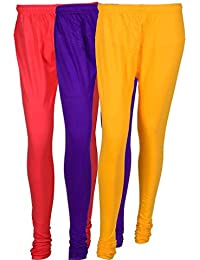 Cotton Leggings (Culture The Dignity Women's Cotton Leggings Combo Of 3_CTDCL_PVY_PINK-VIOLET-YELLOW_FREESIZE)