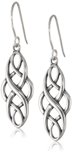 Sterling Silver Oxidized Celtic Design Oval Dangle Earrings