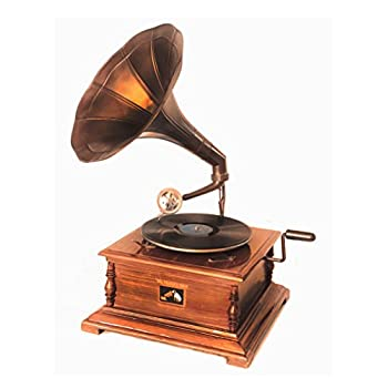 WinnerBrown Home Décor Metal Wood Brass Antique Finish Gramophone Record Player, 27 inch