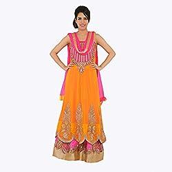 Nirali Women's Georgette Salwar Kameez SemiStiched Dress Material - Free Size (Orange And Pink)