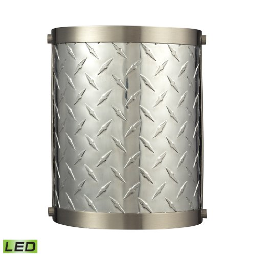 Diamond Plate Collection 1 Light Sconce In Brushed Nickel - Led Offering Up To 800 Lumens (60 Watt Equivalent) With Full Range Dimming. Includes An Easily Replaceable Led Bulb (120V).