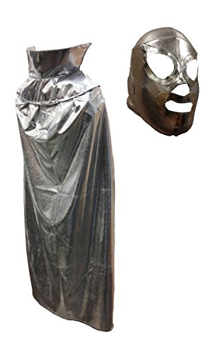 SANTO JR Youth Lucha Libre Wrestling Mask & Cape Halloween Costume Set - Silver