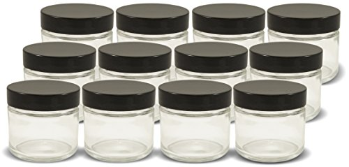 2oz Straight Sided Clear Glass Jars (12 pack), Airtight Glass Jar with Black Plastic Smooth Lids (Plastic Baby Food Jars compare prices)