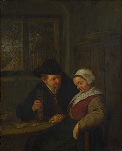 [High Quality Polyster Canvas ,the Beautiful Art Decorative Canvas Prints Of Oil Painting 'Adriaen Van Ostade A Peasant Courting An Elderly Woman ', 18 X 22 Inch / 46 X 57 Cm Is Best For Bar Gallery Art And Home Gallery Art And] (Van Gun X Sword Costume)