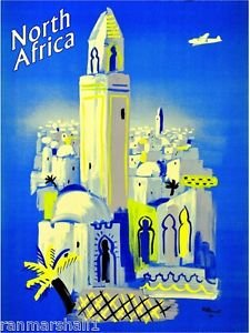 LanLan North Africa African by Airplane Vintage Travel Art Poster Advertisement