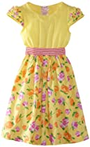 Nannette Girls 2-6x 1 Piece Bow Knit Dress, Lemon, 6