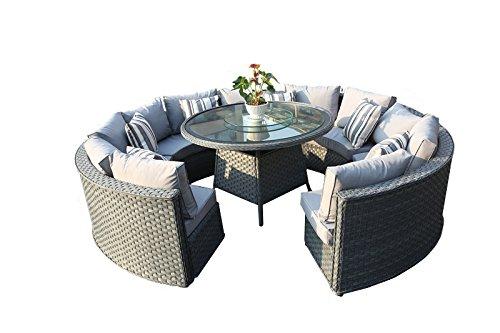 yakoe 50144Monaco 10-Sitzer rund Rattan Gartenmöbel Esstisch Sofa-Set–Grau