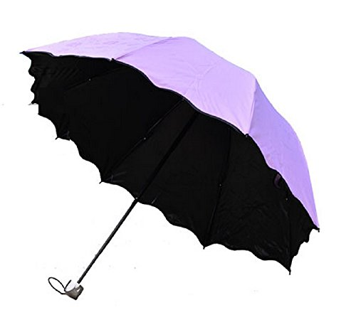 Life Connection 魔法 折り畳み 傘 すみれ色 花 が 浮き出る 雨 日傘 兼用