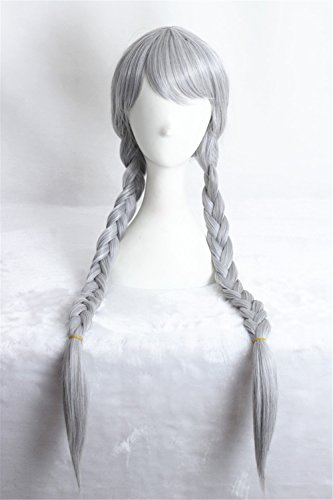 Women Girl's Lolita Cosplay Wig with Two Braids for Halloween Wig (Black Long Wig With Two Braids)
