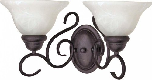 Nuvo 60/388 Black Two Light Wall Fixture with Alabaster Glass, Textured Flat Black