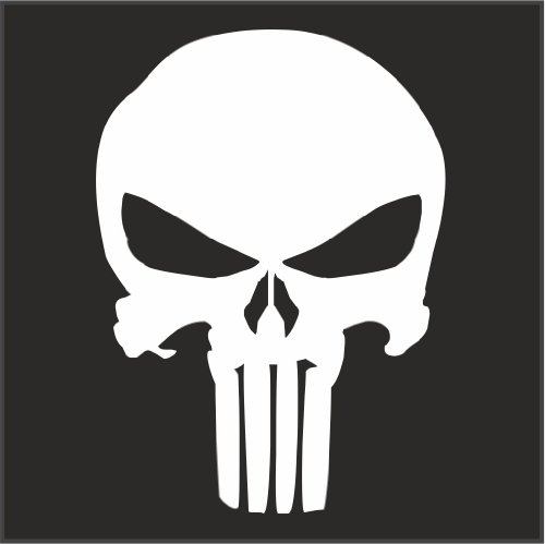 Punisher Logo Helmet Motorcycle Decal Sticker White