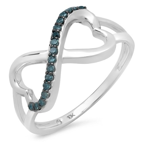 10k White Gold Infinity Double Heart Ring with Blue Diamonds