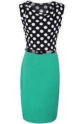 Waltzmart Women Polka Dot Bodycon Evening Party Dress OL Stretch Clubwear