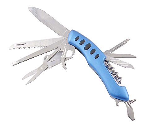 Layopo Multi-Function Stainless Steel Blue Pocket Knife Tool Kit With Layopo'S Carabiner