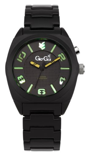 Gio-Goi Men's 'Disco' Black Stainless Steel Bracelet Analogue Watch GG1014B With Press Button Dial Illumination