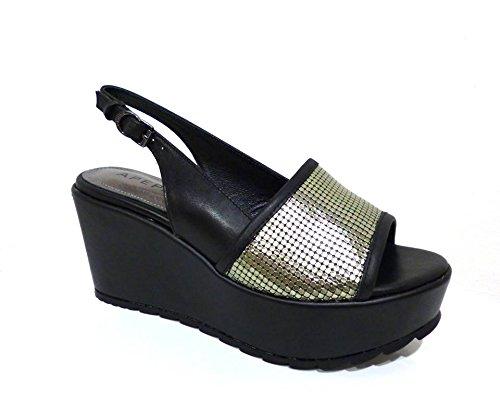 ApePazza VTY04 Vicky Gaucho nero sandali zeppe alte pelle nere con fascia laminato argento n° 35