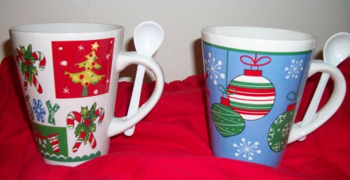 2 Cutest 12 oz. Stoneware Cups with Stoneware Spoons With Christmas Decorations on each. A Gift for 2 Friends!!