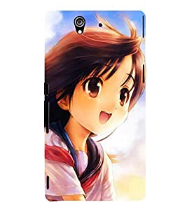 PICTURE OF A CUTE ANIMATED GIRL IN ASTONISHMENT 3D Hard Polycarbonate Designer Back Case Cover for Sony Xperia Z :: Sony Xperia Z L36h