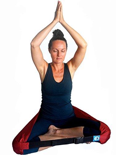 """Meditazione e yoga Cinghia di sostegno postura seduta, portatile sedile cuscino sedia stile cintura, Maroon, Large [59"""" to 63""""]"""