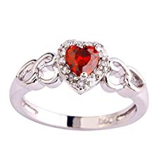 buy Psiroy 925 Sterling Silver Grace Womens Band Charms Gorgeous 5Mm*5Mm Heart Cut Ruby Spinel Filled Ring
