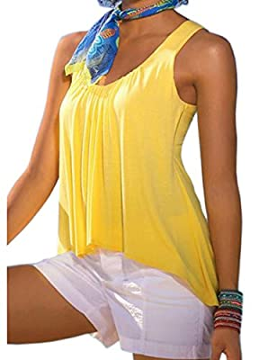 RAYWIND Women High-low Tank Top Summer Casual Sleeveless Shirt Blouse