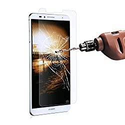 Huawei Ascend Mate 7 Screen Protector, Poweradd Huawei Mate 7 Tempered Glass Screen Protector Bubble Free, 9H Hardness, Touchscreen Accuracy for Huawei Ascend Mate 7 (2015 Model) - Retail Packaging