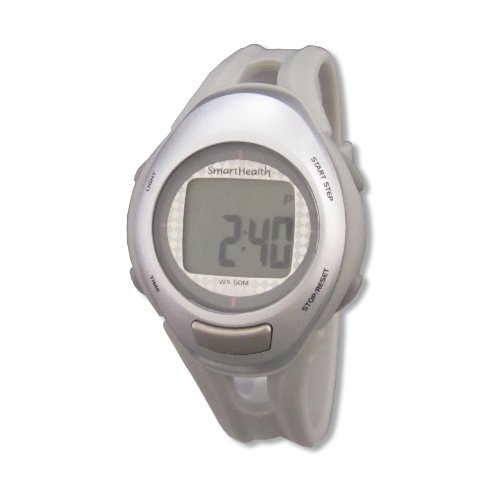 Smart Health Digital Pedometer Heart Rate Watch (Silver, Small)