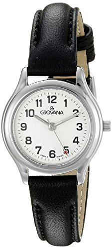 GROVANA 3207,1933 Para mujer reloj infantil de cuarzo con esfera analógica blanca y negro correa de piel 3207,1933