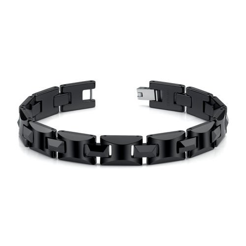 Black Ceramic H Style Link Bracelet for Men