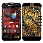 CellPhone Trendz Hybrid 2 in 1 Case Hard Cover Faceplate Skin Black Silicone and Camo Mossy Hunter Flying Duck Snap Protector for Motorola DROID RAZR M (XT907