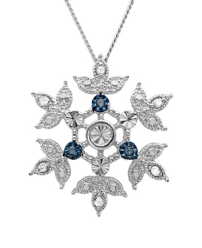 diamond Blue and White Diamond Snowflake Pendant in Sterling Silver on an 18inch Chain
