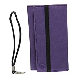 J Cover A5 Nillofer Leather Wallet Universal Pouch Cover Case For LavaA82 Purple Black