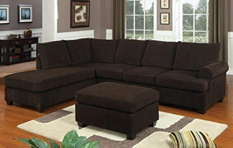 Furniture2go F7135 Chocolate Corduroy Sectional Sofa - Reversible L/R Chaise, 3-Seat Sofa