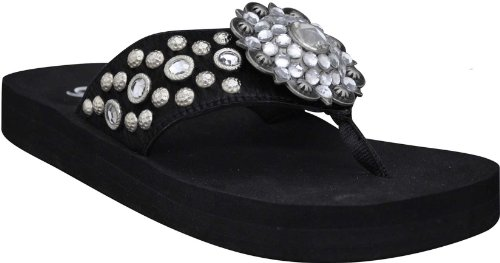 Grazie Flip Flops Burst Black,6.5 M Us back-791907